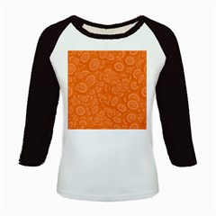 Orange Abstract 45s Kids Long Cap Sleeve T-Shirt