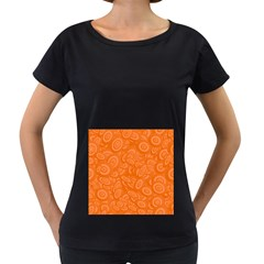 Orange Abstract 45s Women s Loose-Fit T-Shirt (Black)