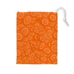Orange Abstract 45s Drawstring Pouch (Large)