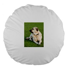 Anatolian Shepherd Laying Large 18  Premium Flano Round Cushion