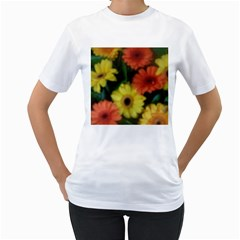 Orange Yellow Daisy Flowers Gerbera Women s Two Sided T Shirt (white)