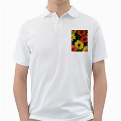 Orange Yellow Daisy Flowers Gerbera Men s Polo Shirt (White)