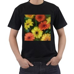 Orange Yellow Daisy Flowers Gerbera Men s Two Sided T-shirt (Black)