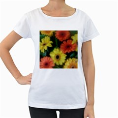Orange Yellow Daisy Flowers Gerbera Women s Loose-Fit T-Shirt (White)