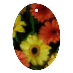 Orange Yellow Daisy Flowers Gerbera Oval Ornament (two Sides)