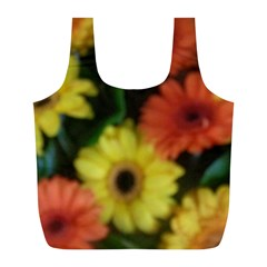Orange Yellow Daisy Flowers Gerbera Reusable Bag (L)