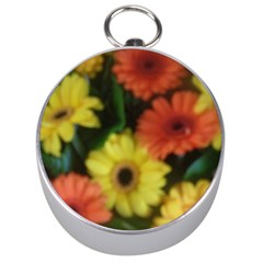 Orange Yellow Daisy Flowers Gerbera Silver Compass