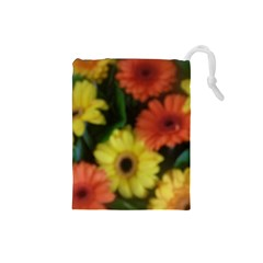 Orange Yellow Daisy Flowers Gerbera Drawstring Pouch (small)