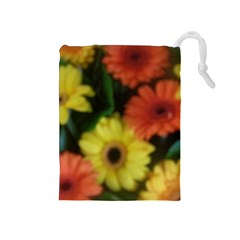 Orange Yellow Daisy Flowers Gerbera Drawstring Pouch (Medium)