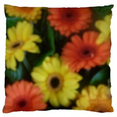Orange Yellow Daisy Flowers Gerbera Large Flano Cushion Case (two Sides)