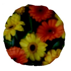 Orange Yellow Daisy Flowers Gerbera Large 18  Premium Flano Round Cushion