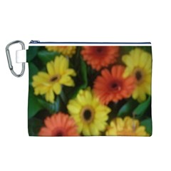 Orange Yellow Daisy Flowers Gerbera Canvas Cosmetic Bag (Large)
