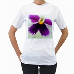 Inside Purple White Violet Flower Women s Two-sided T-shirt (White)
