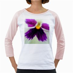 Inside Purple White Violet Flower Women s Long Cap Sleeve T-Shirt (White)