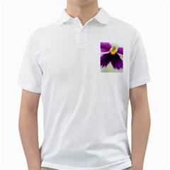 Inside Purple White Violet Flower Men s Polo Shirt (white)
