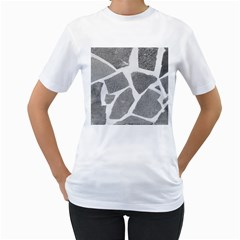 Grey White Tiles Pattern Women s Two-sided T-shirt (White)