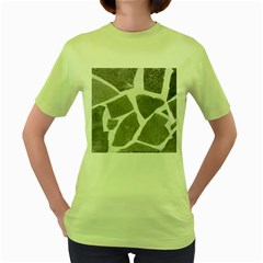 Grey White Tiles Pattern Women s T-shirt (Green)
