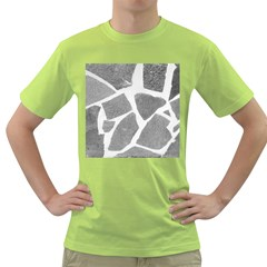 Grey White Tiles Pattern Men s T-shirt (Green)
