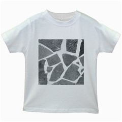 Grey White Tiles Pattern Kids T-shirt (White)