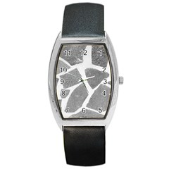 Grey White Tiles Pattern Tonneau Leather Watch