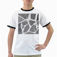 Grey White Tiles Pattern Men s Ringer T Shirt
