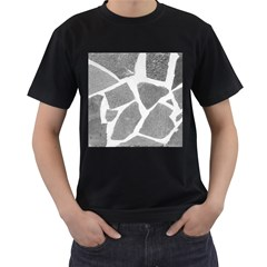 Grey White Tiles Pattern Men s Two Sided T-shirt (Black)