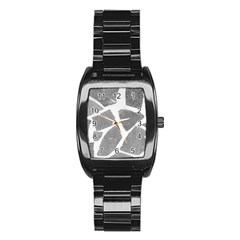 Grey White Tiles Pattern Stainless Steel Barrel Watch