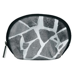 Grey White Tiles Pattern Accessory Pouch (Medium)