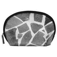 Grey White Tiles Pattern Accessory Pouch (Large)