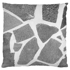 Grey White Tiles Pattern Large Flano Cushion Case (One Side)