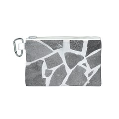 Grey White Tiles Pattern Canvas Cosmetic Bag (Small)