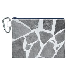 Grey White Tiles Pattern Canvas Cosmetic Bag (Large)