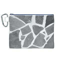 Grey White Tiles Pattern Canvas Cosmetic Bag (XL)
