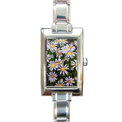 Yellow White Daisy Flowers Rectangular Italian Charm Watch