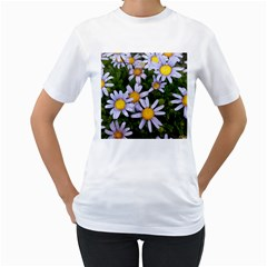 Yellow White Daisy Flowers Women s Two-sided T-shirt (White)