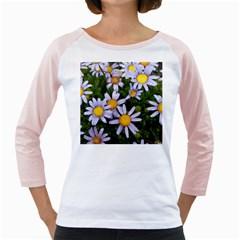 Yellow White Daisy Flowers Women s Long Cap Sleeve T-Shirt (White)