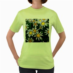 Yellow White Daisy Flowers Women s T-shirt (Green)