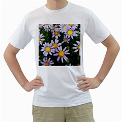 Yellow White Daisy Flowers Men s Two Sided T Shirt (white)