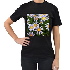 Yellow White Daisy Flowers Women s Two Sided T-shirt (Black)