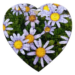 Yellow White Daisy Flowers Jigsaw Puzzle (Heart)