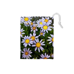 Yellow White Daisy Flowers Drawstring Pouch (Small)