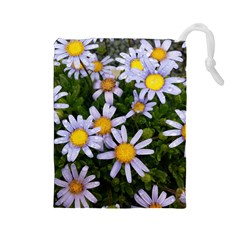 Yellow White Daisy Flowers Drawstring Pouch (Large)