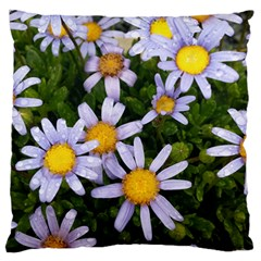 Yellow White Daisy Flowers Large Flano Cushion Case (One Side)