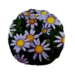Yellow White Daisy Flowers Standard 15  Premium Flano Round Cushion