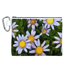 Yellow White Daisy Flowers Canvas Cosmetic Bag (Large)