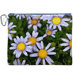 Yellow White Daisy Flowers Canvas Cosmetic Bag (XXXL)