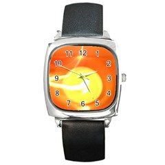 Orange Yellow Flame 5000 Square Leather Watch