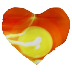 Orange Yellow Flame 5000 Large 19  Premium Flano Heart Shape Cushion