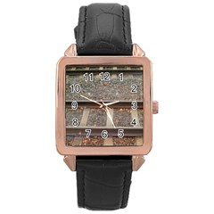 Railway Track Train Rose Gold Leather Watch