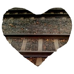 Railway Track Train Large 19  Premium Flano Heart Shape Cushion